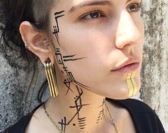 Egyptian Gold Brass Gauge Earrings, Women's Gauge Drop Earrings, Cleopatra Tribal Large Gauge Dangle Earrings, Egyptian jewelry Ear Stretch