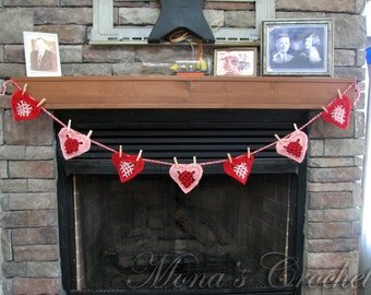 Hand Crocheted Valentine From The Heart Garland for Home Decor | Heart Bunting | Valentine Bunting | Valentine's Day Decoration