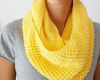 SALE// 40 % off hand knit yellow scarf/ knit yellow infinity scarf /knitted scarf/knitting scarf/scarves/ scarf/ infinity/knit scarf