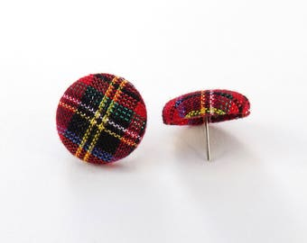 Shimmer Tartan Plaid Fabric Button Earrings, Textured Plaid Buttons, Womens Buttons, Tartan Button Earrings, Plaid Studs, Fabric Earrings