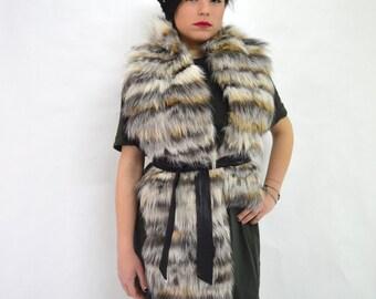 Real fox fur stole, wrap fur collar,fur scarf, genuine fox fur infinity scarf pelt, grey fox fur shawl, real fur neck warmer. Fox fur stole.