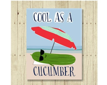 Cool as a Cucumber Magnet, Funny Magent, Refrigerator Magnet, Cute Fridge Magnet, Gifts Under 10, Small Gift, Cucumber Art, Vegetable Art