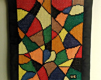 Made to order: Abstract Z-A Wallhanging OOAK embroidered by hands brings inspiration / Home decor / Wall canvas / Gift idea / Mood therapy
