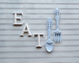 White EAT Wall Decor. Wall Decor. Kitchen Decor. Kitchen Wall Decor. Eat. Kitchen and Dining. Wall Art. Kitchen Art. Bistro. Kitchen Sign
