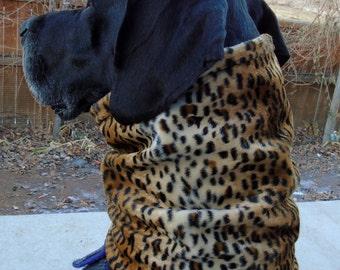 Leopard cheetah faux fur scarf, fake fur snood, animal print neck warmer, fuzzy cowl wrap or furry gaiter