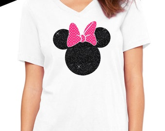 Minnie Mouse Shirt - GLITTER Regular Womens V-Neck (Black Glitter with Pink and white Vinyl Bow) disney tee, disney vacation