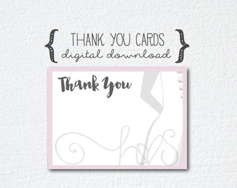 Pink Grey/Gray Bride Thank You Cards - 2 Sizes