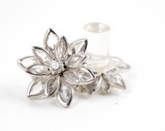 9/16 1/2 7/16 00g 0g 2g 4g 6g 8g 10g 12g 1 PAIR Clear Vintage Inspired Rhinestone Flower Plugs Gauges Tunnels Stud Wedding Bridal Bridesmaid