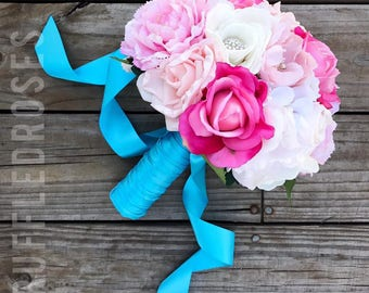 Malibu and Pink Bouquet, Rose Bouquet, Turquoise Bouquet, Pink Bouquet, Real Touch Bouquet, Wedding Bouquet