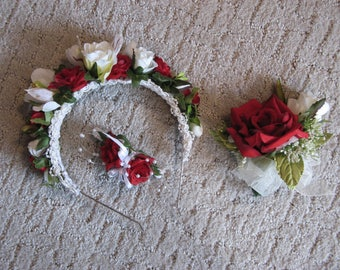 Floral Headband, Barrette, and Corsage~~Red and White Roses, Pearls~~ Wedding, Prom, Dance, Historical Ball, FREE SHIPPING