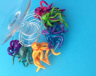 Set of 6 Octopi Wine Glass Charms, Party Decorations, Polymer Clay, Octopus, Handmade Gift