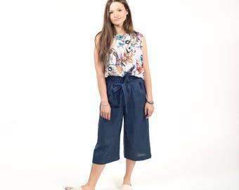 Wide leg women pants , culottes linen pants , women linen pants  , wide trousers , linen , blue , made on measure , short summer pants