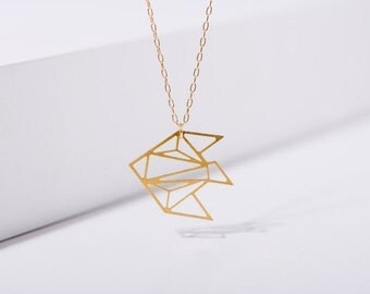 MIZYAN's geometric fish necklace, origami fish necklace, geometric accessories