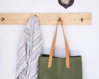 Leather shopper // Green textured veg tanned tote shopper
