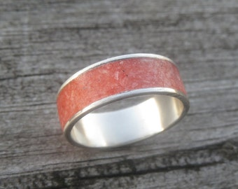Sterling Silver Ring with crushed Red Selenite Inlay; crushed stone Inlay ring;unique band ring; gift idea for her; red Selenite ring
