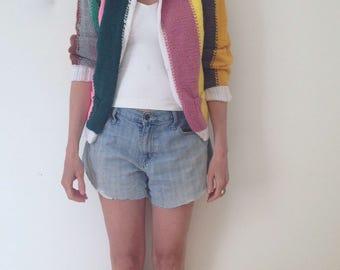hand knit 60's 70's striped sweater rainbow cardigan cute cardigan color block mod sweater bright colors