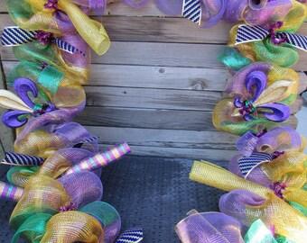 10' Mardi Gras Garland Mardi Gras Door Decor Mardi Gras Deco Mesh Garland Mardi Gras Mantel Garland Purple Green Gold Fleur De Lis Garland