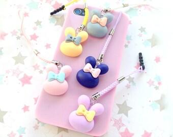 Puffy Bunny Phone Charm, Rabbit Head Kawaii Pastel Dust Plug Charm, Kawaii Planner Charm, Nintendo 3DS, Cute Notebook Charm Ipod Touch Charm