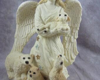 1992 United Design Ltd Ed Guardian Angel, Lamb and Critters Statue #398/10,000