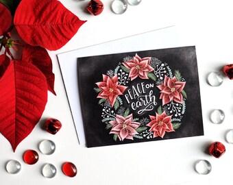 Holiday Card Set, Chalk Art, Chalkboard Art, Typography, Peace On Earth, Poinsettia Wreath, Christmas Card Set