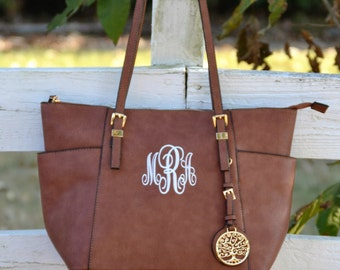 Monogram Purse Tote, Brown Monogram Pocketbook,Vegan Leather Monogram Purse, Tree of Life Purse ,Designer Inspired Handbag, Leather Like Bag