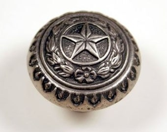 Western Style Texas State Seal Knob - Antique Silver