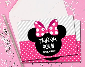 Thank You Cards, Minnie Mouse Thank You Cards, Minnie Mouse, Disney, Pink and Black