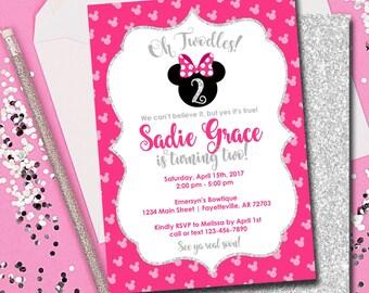 Minnie Mouse Invitation, Minnie Mouse Birthday Invitation, Oh Twodles, Birthday Invitation, Pink and Silver, Minnie, Disney, Printable 5x7