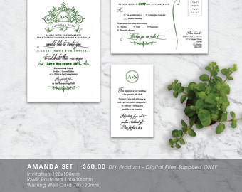 Classic Flourish Elegant Printable Wedding Invitation Set - DIY Printable Digital File 'Amanda'