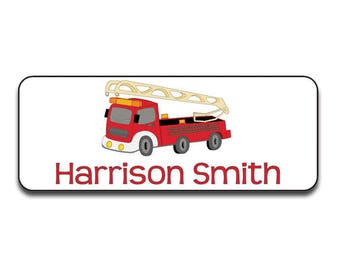 Boys Waterproof Labels, School Supply Labels, Permanent Name Label, Fire Truck, Firetruck Labels, Daycare Bottle Stickers, Sippy Cup Labels