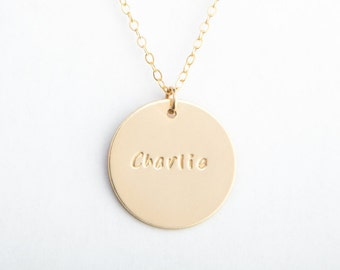 "Large Round Disc Necklace, 7/8"", 22mm, Name, Roman Numeral, Date, Gold Filled, Sterling Silver, Rose Gold Filled"
