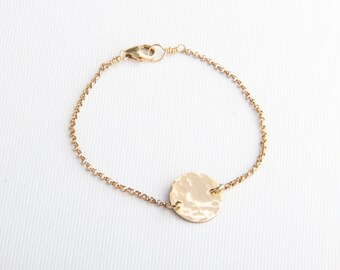 Hammered Disc Bracelet, Initial Disc Bracelet, Gold Filled, Sterling Silver, Rose Gold Fill