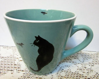 Cat Mugs Coffee or Tea Ceramic Pottery Porcelain Hand Painted BLM