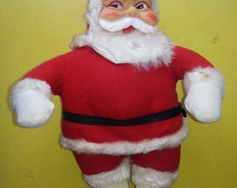 Antique 1950s Plush Rushton Santa Clause Doll with White Boots