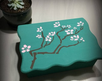 Hand painted cherry blossom box