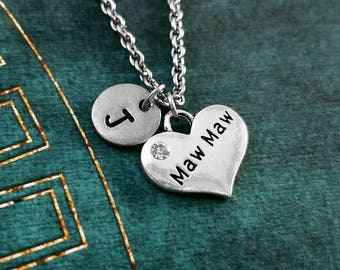 Maw Maw Necklace SMALL Heart Necklace Mom Necklace Mother's Day Jewelry Mom Jewelry Grandma Necklace Grandmother Gift Personalized Necklace