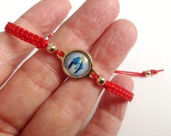 Miraculous Medal Bracelet, friendship Adjustable Bracelet, red string bracelet, gold plated pendant, religious gifts, Virgin Mary Jewelry