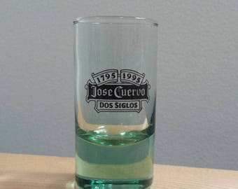 Jose Cuervo Tequila Dos Siglos 1795-1995, green glass Shot Glass, vintage alcohol advertising glass
