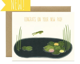 "Frog & Lily Pad New Home Congrats Card - ""Congrats On Your New Pad!"" - ID: CON123"