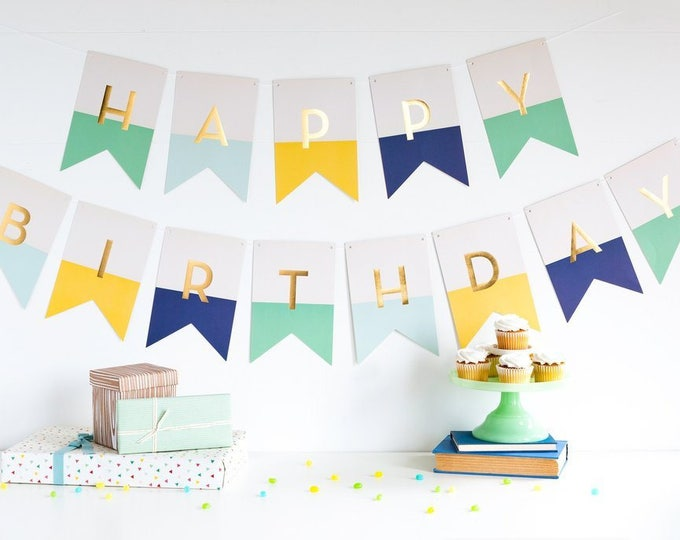 Happy Birthday Banner Letter Banner, Happy Birthday Letter Banner in mint, light blue, yellow, navy and gold lettering, HRP403