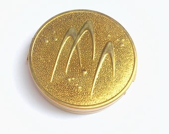 Vintage 50's Atomic Boomerang Gold Tone Merle Norman Reusable Vanity Cosmetics Powder Compact So Cool, Great Gift!