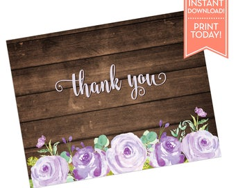 Rustic Thank You Card - Printable Thank You Notes - Bridal Shower - Wedding - Baby Shower - Any Occasion - LR1050 LR1055 LR1056