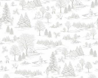 White & Gray Toile Winter Scene Fabric, Studio E 3252 91, Winter Essentials IV,  Winter Woodland Toile Quilt Fabric, Cotton