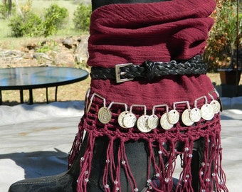 Gypsy Boot Cuffs in Burgundy
