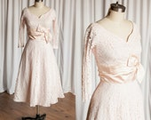 Ladies in Lace dress   vintage 50s dress   1950s pink lace dress   Battenburg lace 50s dress   pale blush pink lace 50s party dress