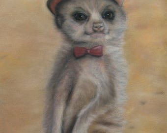 Meerkat Art / Hipster / Hat / Cute Animal Art / Fun art / childrens art / cute animal / dressed up / nursery art /gift for him/ animal print