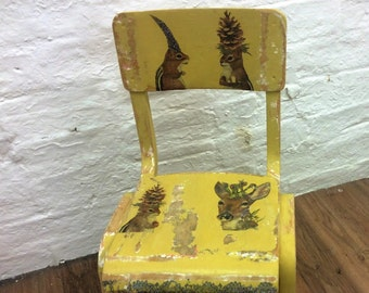 Vintage Chair  Child's Chair  Upcycled Childs Chair  Vintage Home