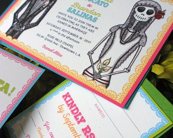 DE COLORES RSVP cards and envelopes