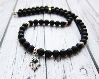 Mens hamsa necklace Mens necklace Hamsa hand necklace Hands of Fatima necklace Fatimas hand necklace Hamsa amulet necklace Jewish hamsa