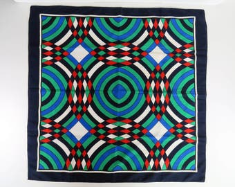 Vintage 60s op art mod scarf - red blue green navy & white - very striking! Made in Italy by Boselli